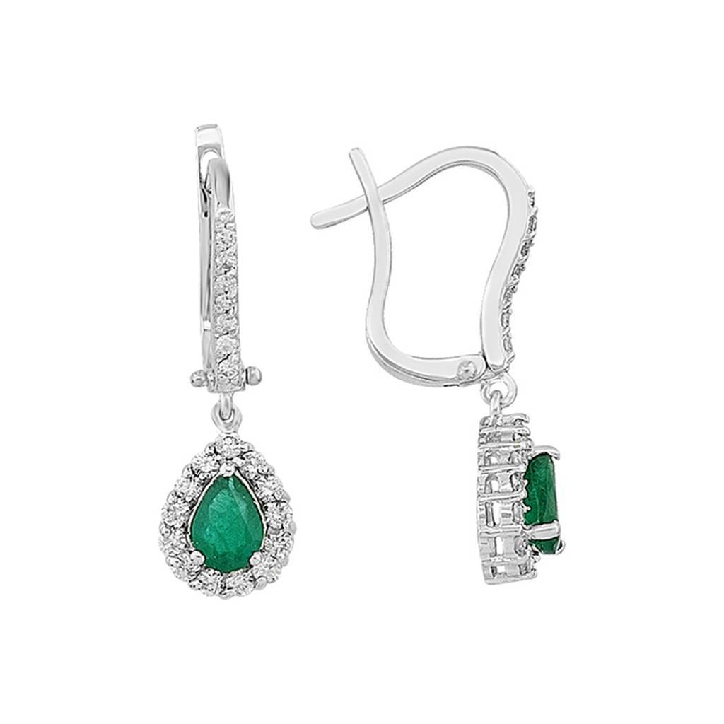 Diamond and Drop Emerald Stone Earrings