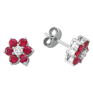 Ruby and Diamond Stone Daisy Earrings