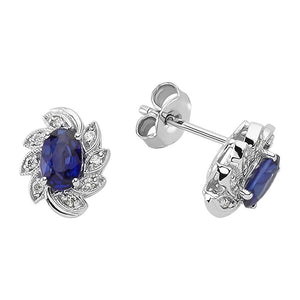 Diamond and Oval Cut Sapphire Earrings