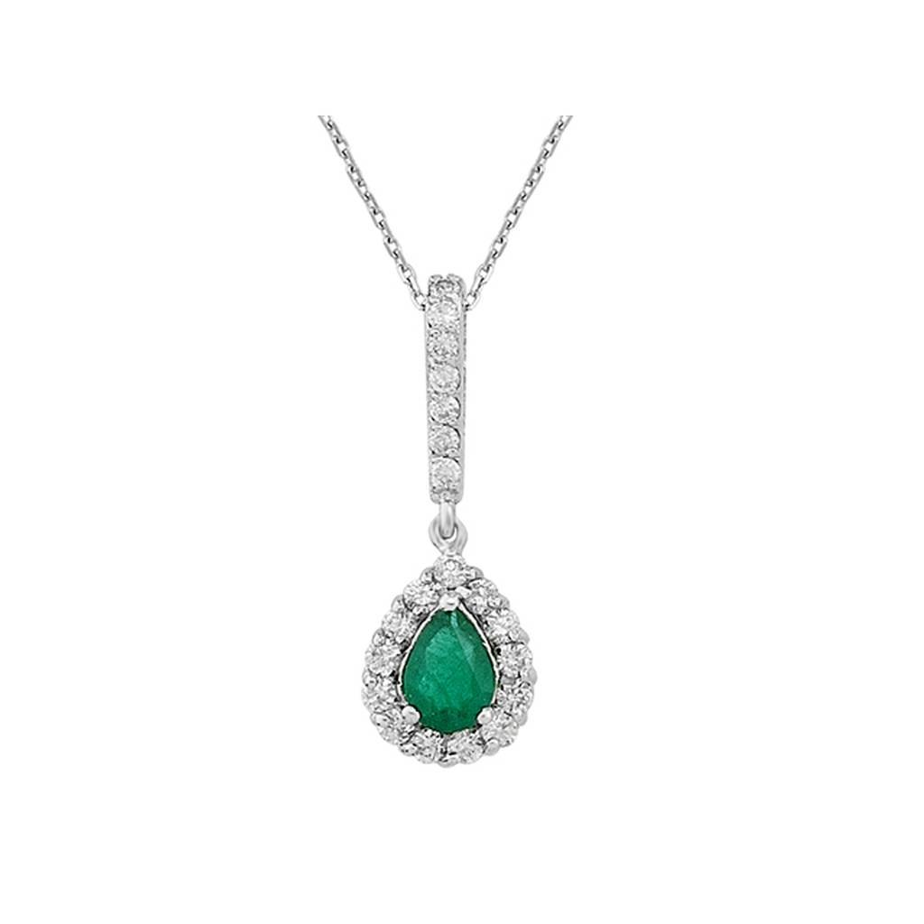 Diamond and Drop Emerald Necklace