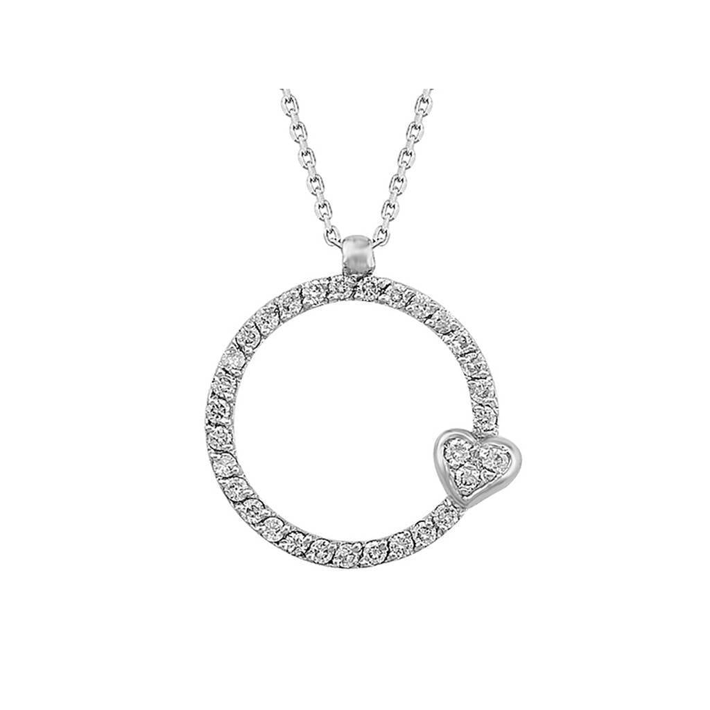 Dimaond Stone Round Necklace with Heart