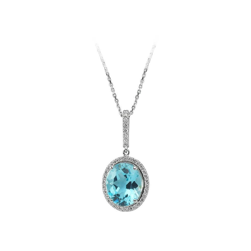 Diamond and Oval Blue Topaz Stone Necklace