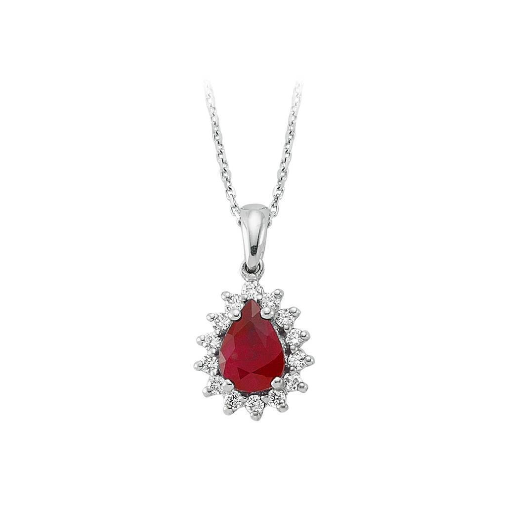 Drop Cut Ruby and Diamond Entourage Necklace