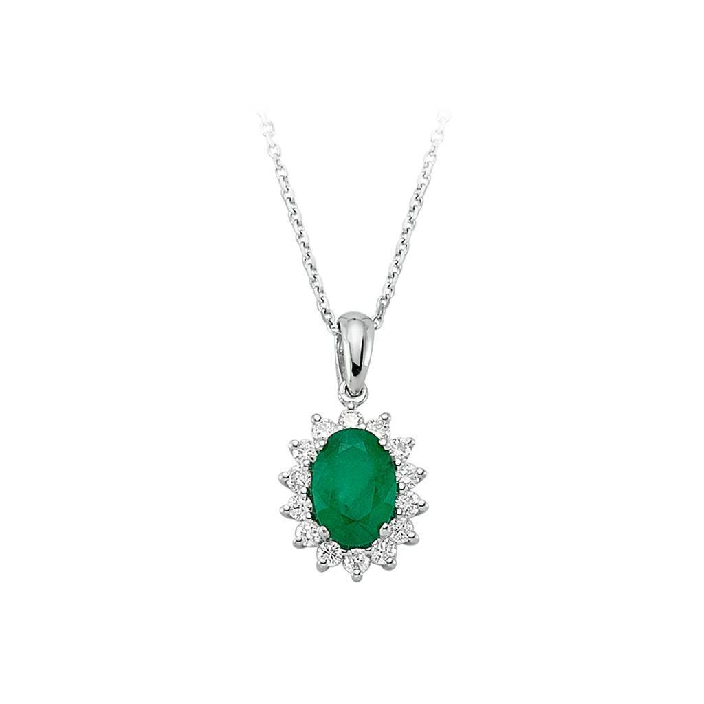 Diamond and Oval Emerald Necklace