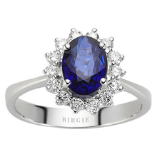 Load image into Gallery viewer, Diamond and Oval Sapphire Stone Ring
