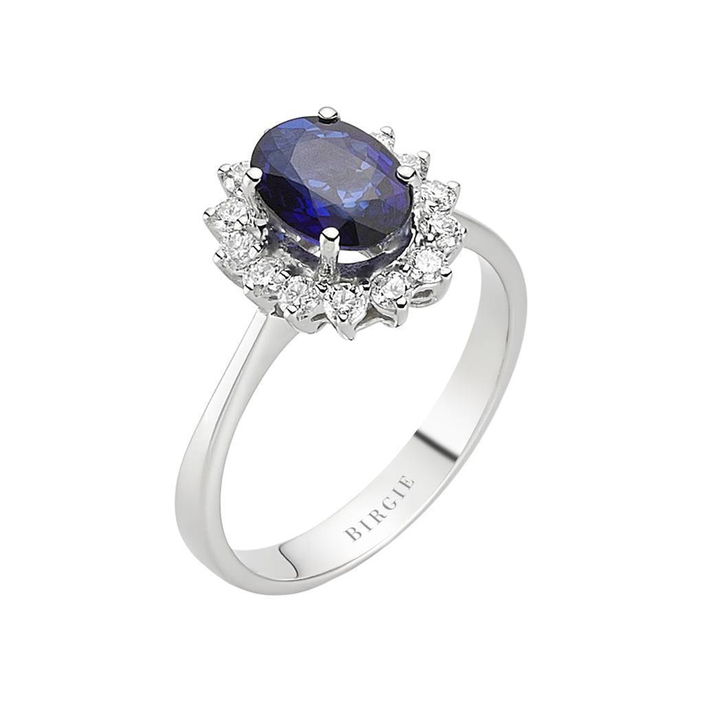Diamond and Oval Sapphire Stone Ring