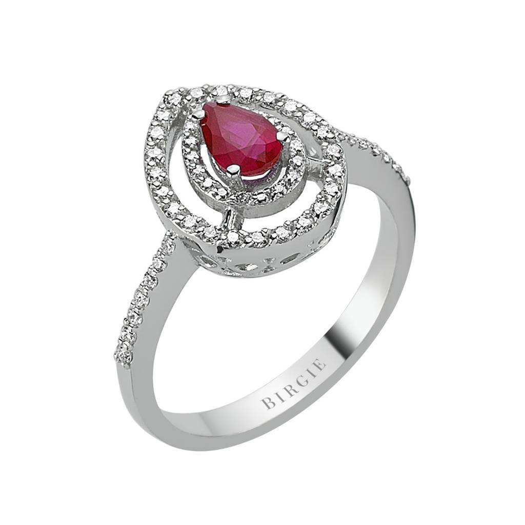 Drop Ruby and Diamond Ring