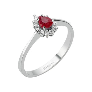 Drop Cut Ruby and Diamond Entourage Ring