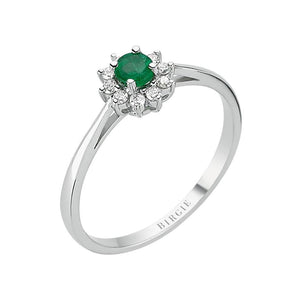 Round Cut Emerald and Diamond Entourage Ring
