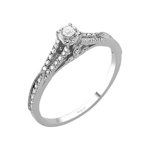 Total 0.43 Carat Diamond Halo Engagement Ring