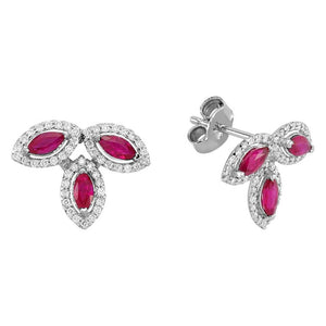 Diamond and Marquise Cut Ruby Earrings