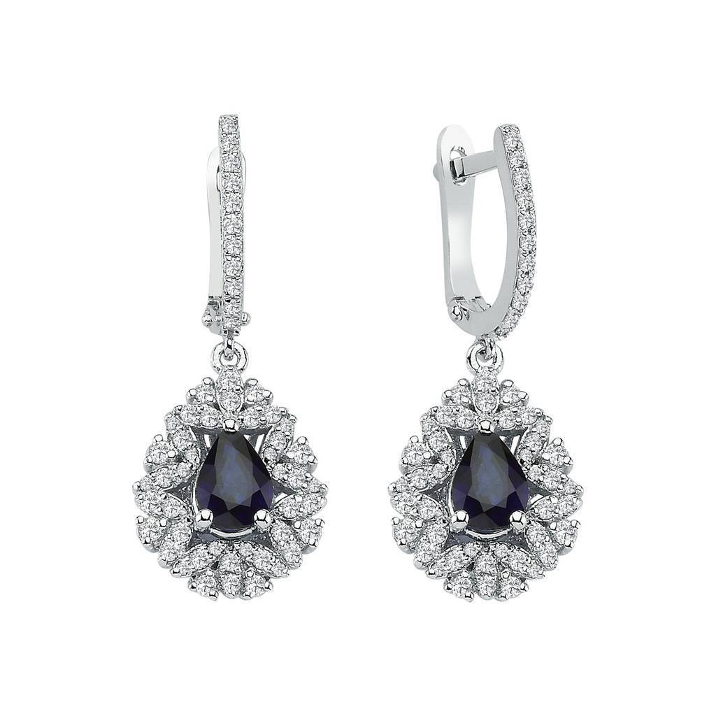 Diamond and Drop Cut Sapphire Entourage Earrings