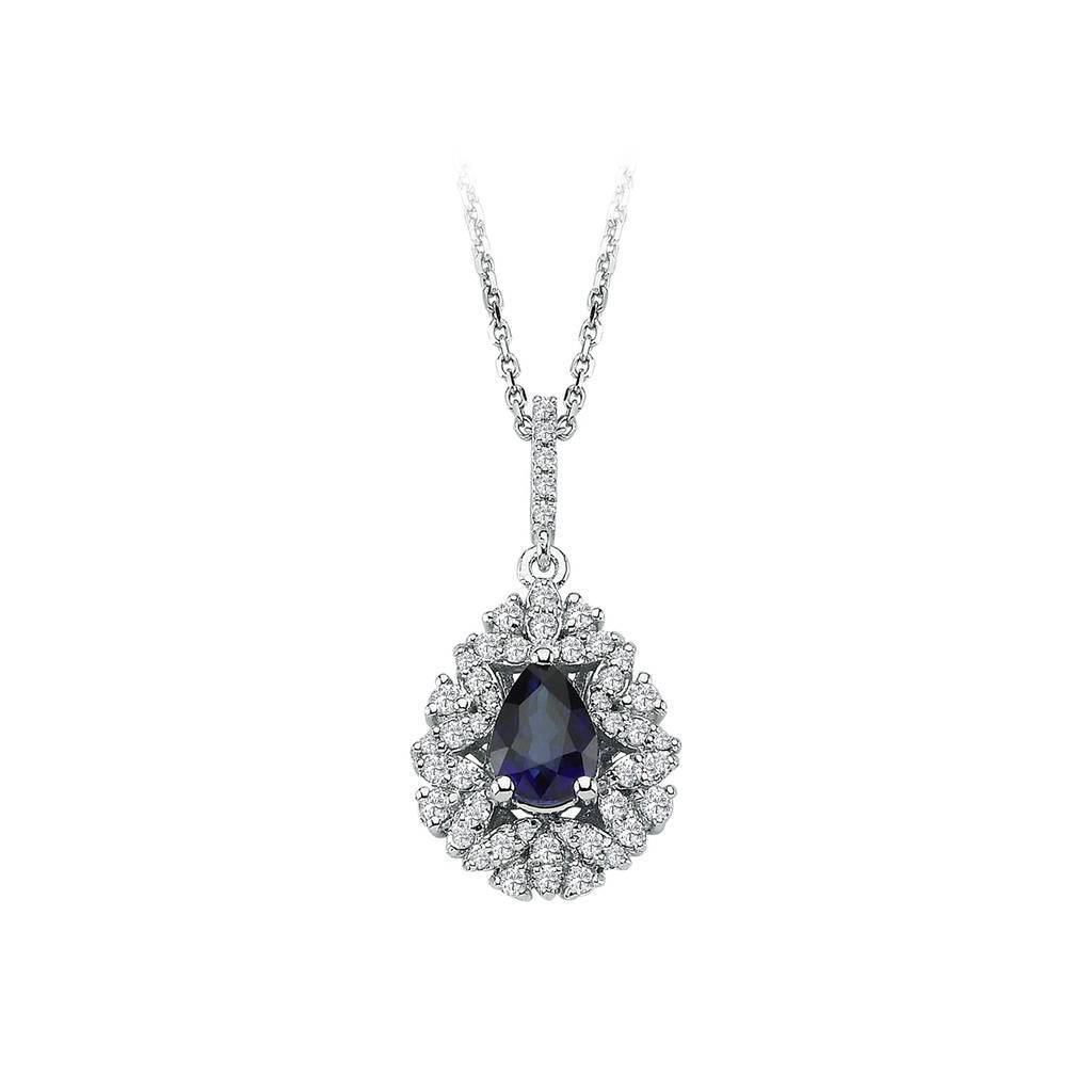 Diamond and Drop Cut Sapphire Entourage Necklace
