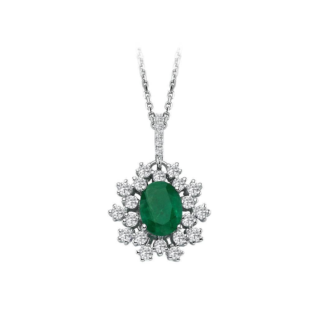 Diamond and Oval Cut Emerald Necklace