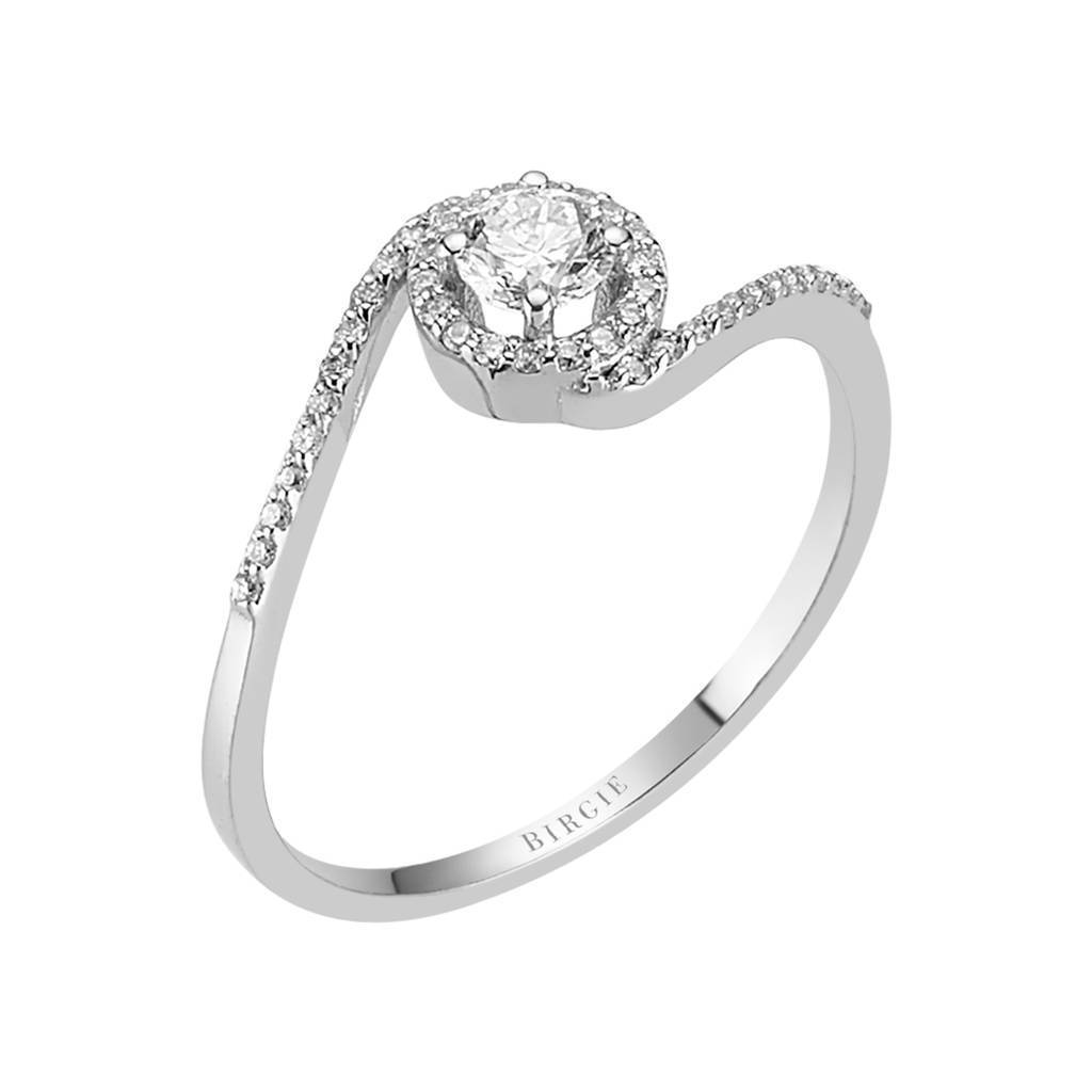 Total 0.37 Carat Diamond Halo Engagement Ring
