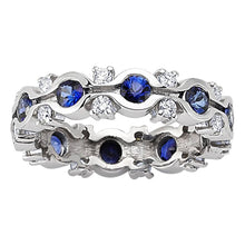 Load image into Gallery viewer, Half Channel Set Eternity Sapphire and Diamond Ring