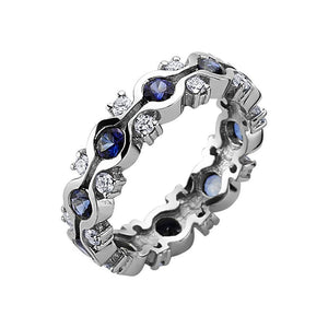 Half Channel Set Eternity Sapphire and Diamond Ring