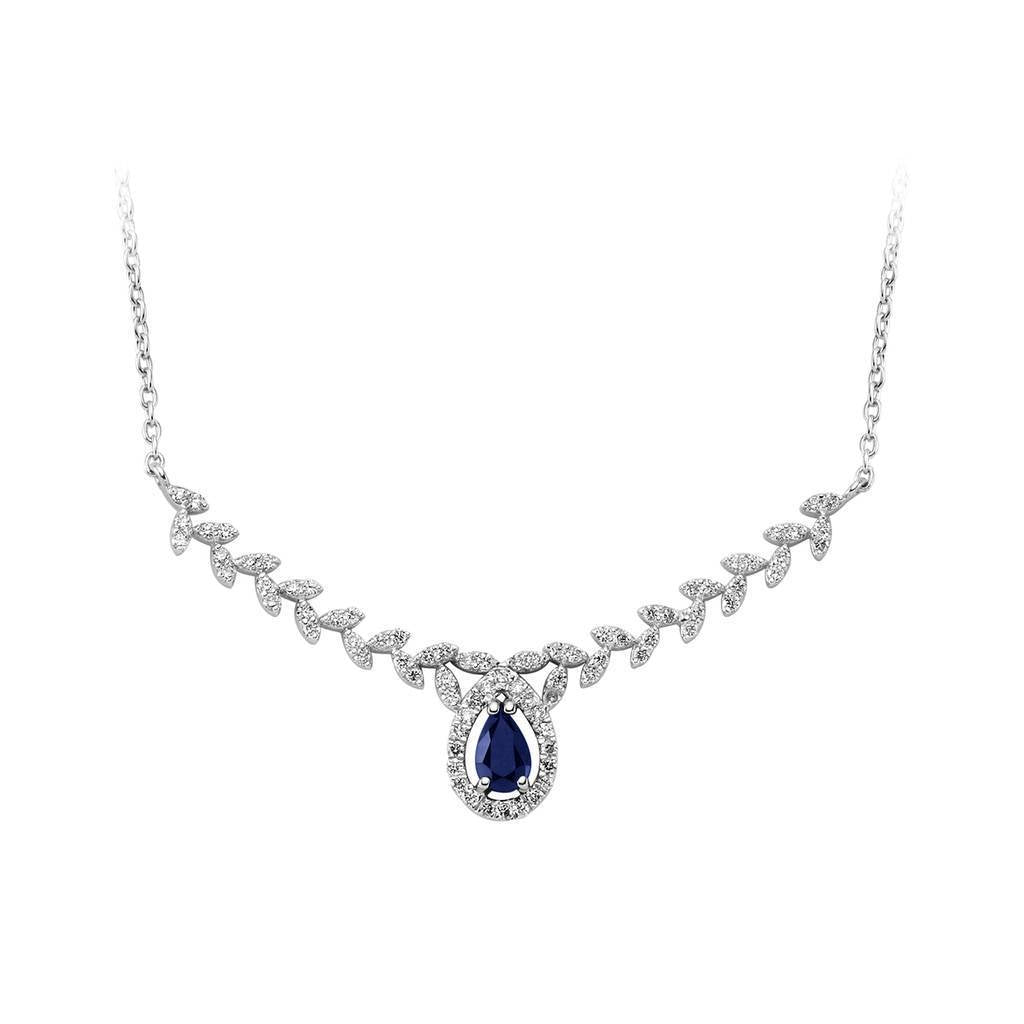 Diamond and Drop Cut Sapphire Olive Branch Necklace