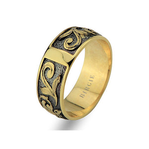 Floral Design Yellow Gold Wedding Band