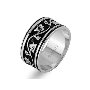 Leaf Design White Gold Wedding Band