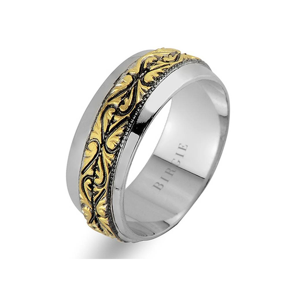 Yellow and White Gold Vintage Wedding Band