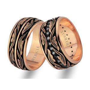 Leaf Design Rose Gold Wedding Band w/Diamonds