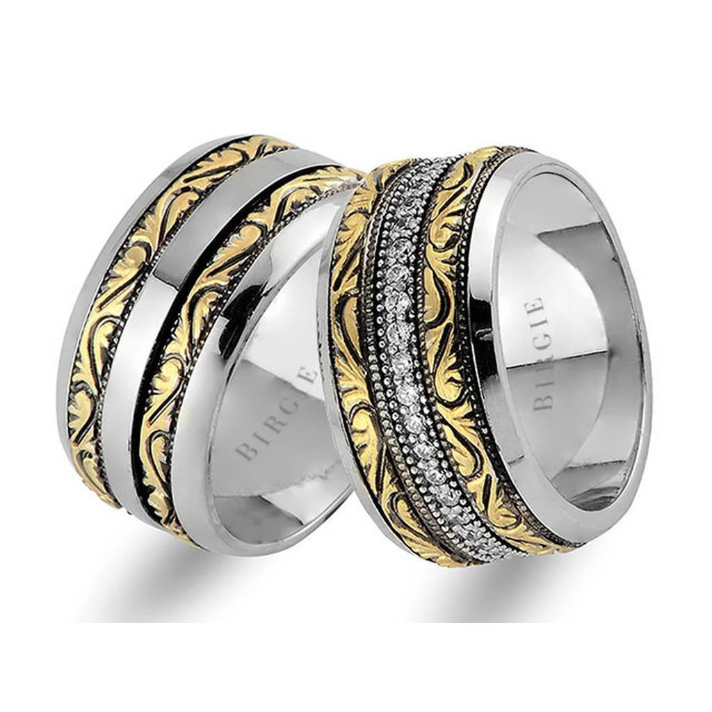 Assymetric Yellow and White Gold Vintage Wedding Band w/Diamonds