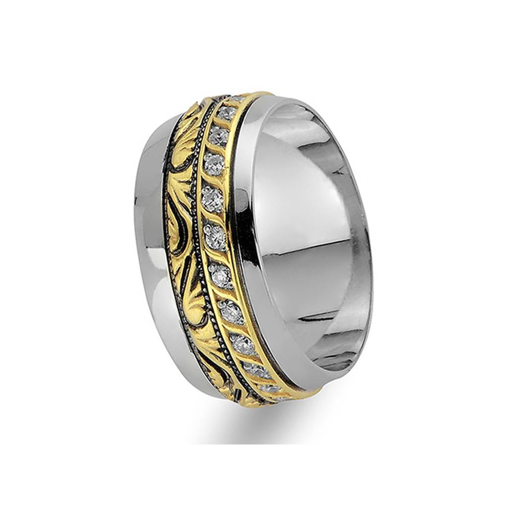Yellow and White Gold Vintage Wedding Band w/ Diamonds