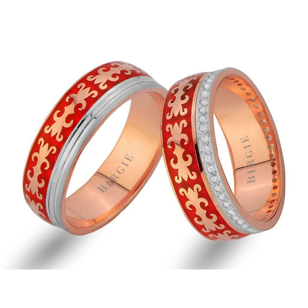 Byzantine Design Rose Gold Wedding Band w/ Diamonds