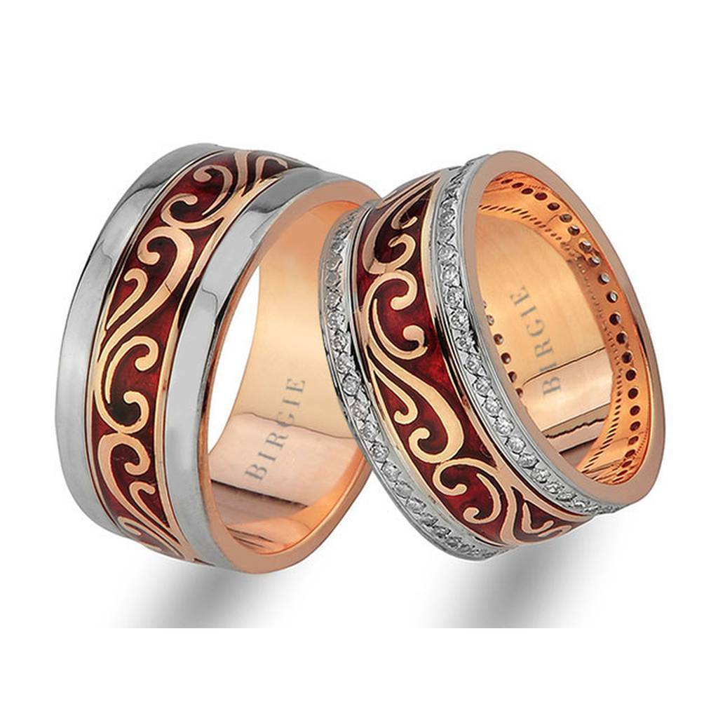 Floral Design Rose Gold Wedding Band w/ Twin Line Diamonds