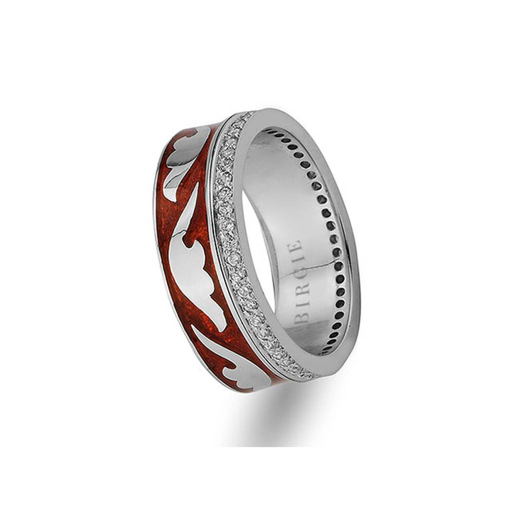 Stylish Design White Gold Wedding Band w/ Diamonds