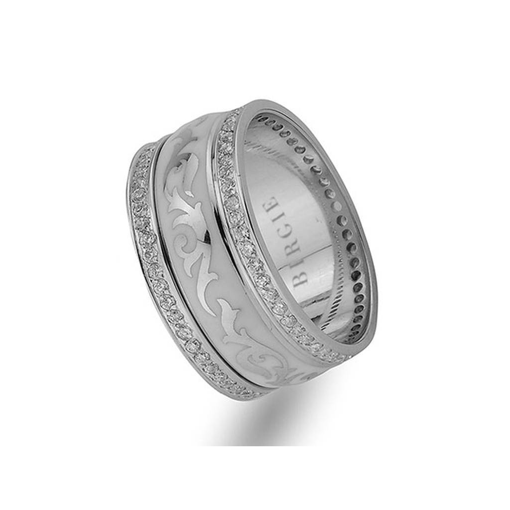 Floral Design White Gold Wedding Band w/ Twin Line Diamonds