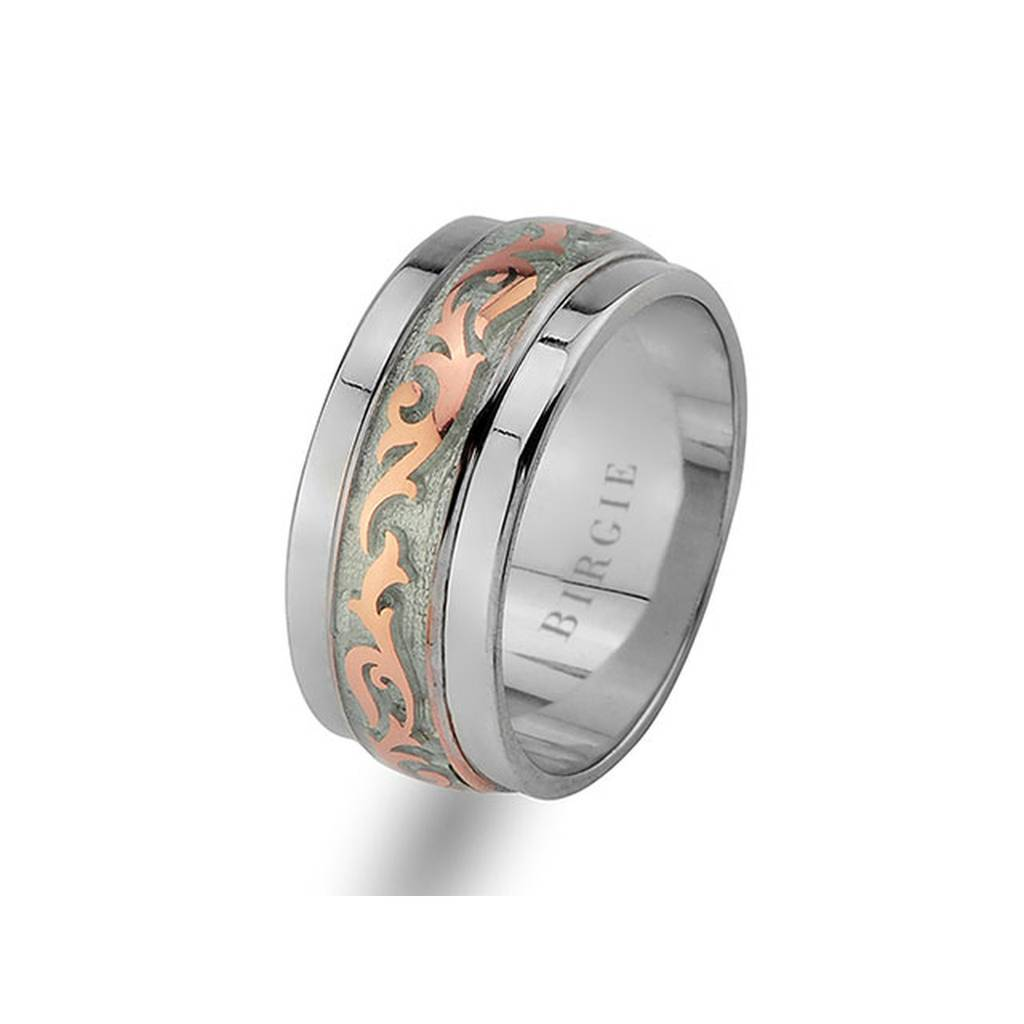 Floral Design Rose and White Gold Wedding Band