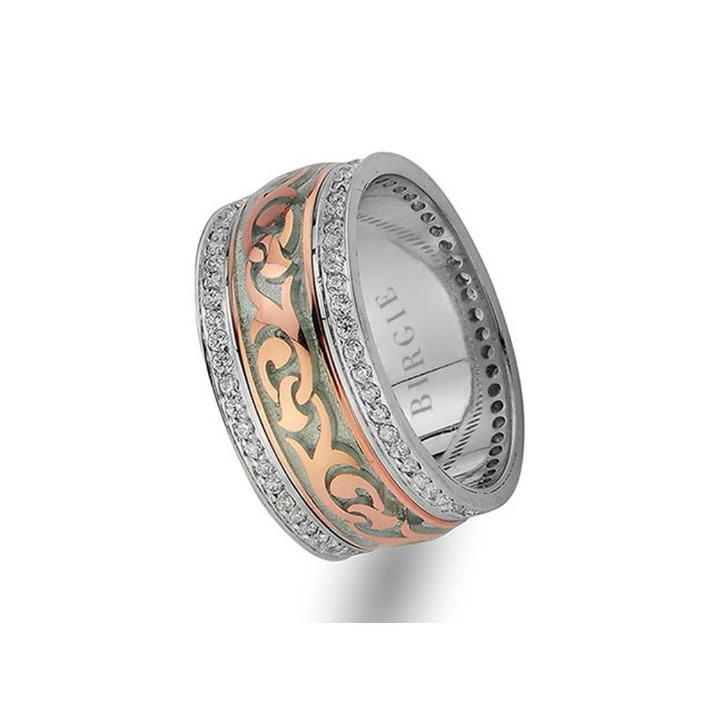 Floral Design Rose and White Gold Wedding Band w/ Twin Line Diamonds