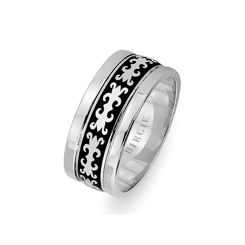 Byzantine Design White Gold Wedding Band