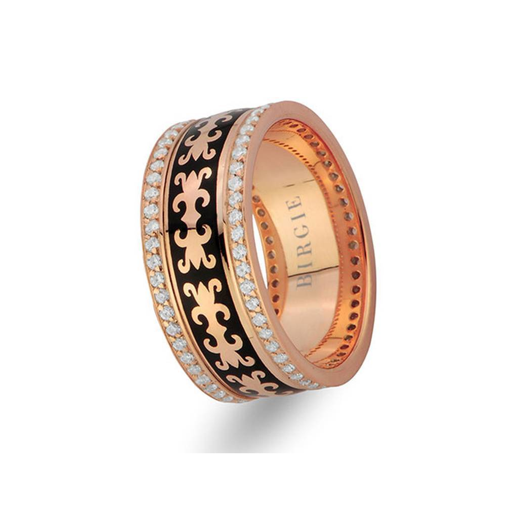 Byzantine Design Rose Gold Wedding Band w/ Twin Line Diamonds