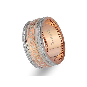 Chain Design White and Rose Gold Wedding Band w/ Diamonds