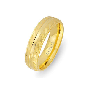 Yellow Gold Wedding Band w/ Mirror Effect