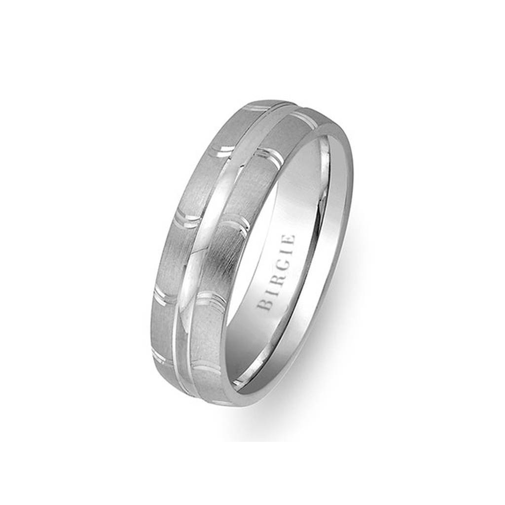 Embroidered White Gold Wedding Band