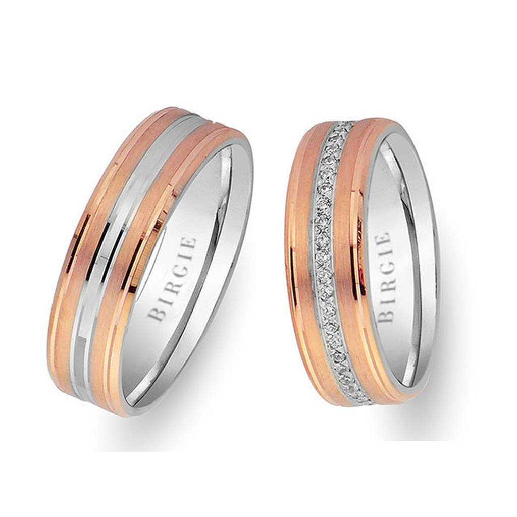 Rose and White Gold Wedding Band w/ Diamonds