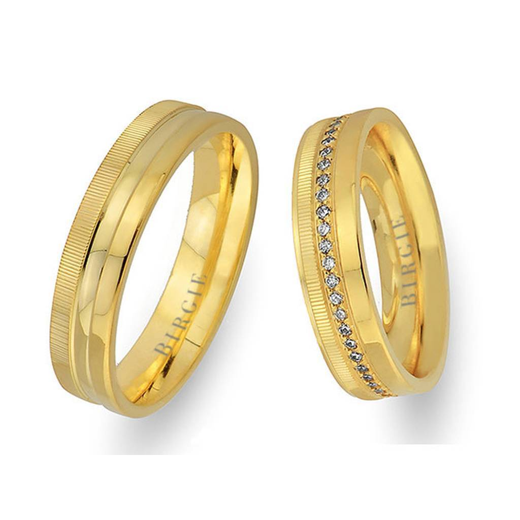 Yellow Gold Nodular Wedding Band w/ Diamonds