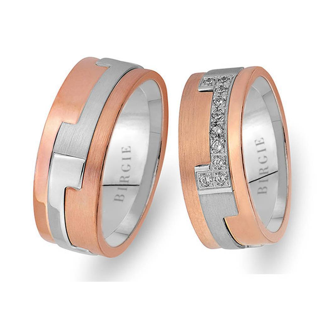 White and Sanded Rose Gold Piet Wedding Band w/ Diamonds