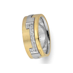 Pablo Design White and Sanded Yellow Gold Wedding Band w/ Diamonds