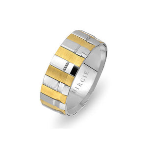 Geometric Design White and Yellow Gold Wedding Band