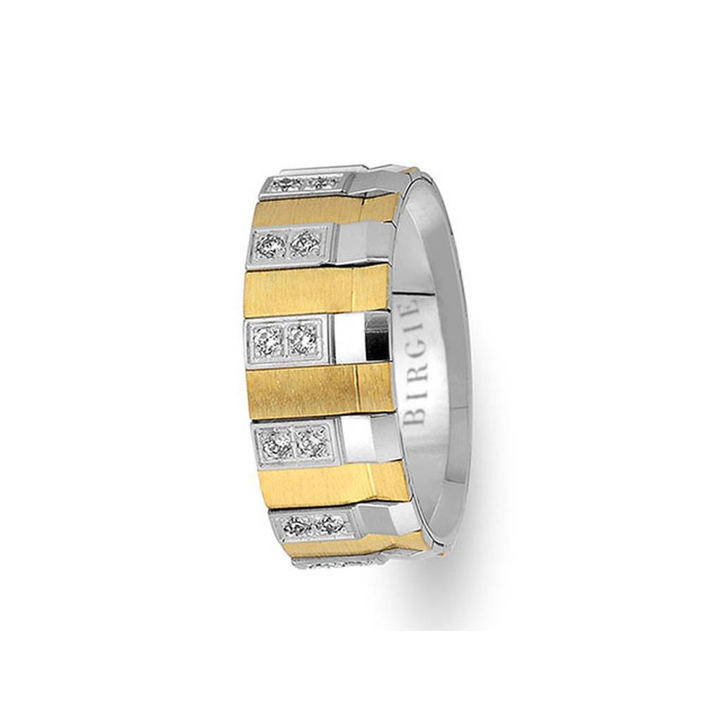 Geometric Design White and Yellow Gold Wedding Band w/ Diamonds