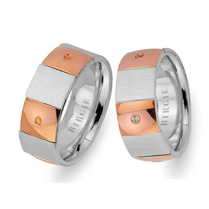 Sanded Rose and White Gold Chequered Wedding Band w/ Diamonds