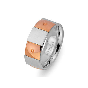 Sanded Rose and White Gold Chequered Wedding Band