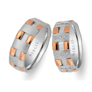 Modern Design Rose and White Gold Chequered Wedding Band w/ Diamonds