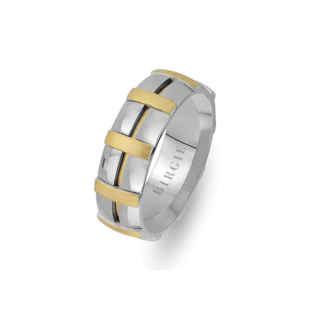 Sanded Yellow and White Gold Canonical Wedding Band