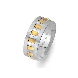 Sanded Yellow and White Gold Theo Wedding Band